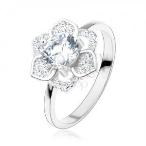 Prsten, stříbro 925, blyštivý květ, broušený čirý zirkon, hladká ramena