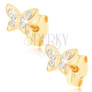 Zlaté náušnice 375 - blyštivý motýlek zdobený drobnými čirými zirkony