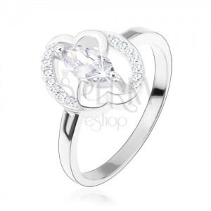 Zásnubní prsten, stříbro 925, čiré zirkonové zrnko, propojená srdce