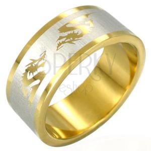 Pozlacený ocelový prsten - čínský drak