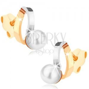 Rhodiované náušnice z 9K zlata - dvoubarevné obloučky, perla bílé barvy