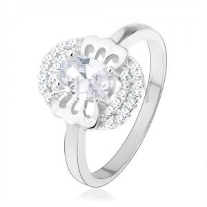 Zásnubní prsten, stříbro 925, čirý zirkon - motýlek, zdvojený lem
