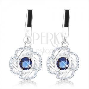 Stříbrné náušnice 925, modrý zirkon, obrys květu, třpytivý lem