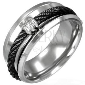 Prsten z oceli - černé lanko