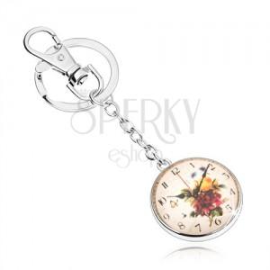 Klíčenka ve stylu cabochon, čiré vypouklé sklo, motiv hodin s květy