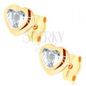 Puzetové náušnice ve žlutém 9K zlatě - čiré zirkonové srdce, lesklý obrys