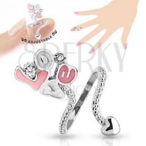 """Nastavitelný prsten na nehet, růžovo-bílý nápis """"Love"""", čiré zirkony"""