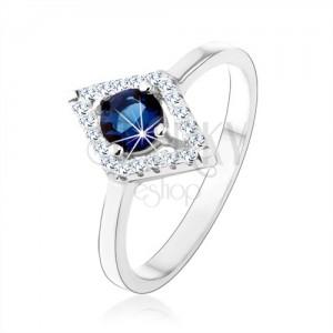 Prsten ze stříbra 925, obrys kosočtverce, modrý kulatý zirkon