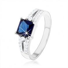 Zásnubní prsten, stříbro 925, modrý zirkonový čtverec, zdobená ramena HH2.11