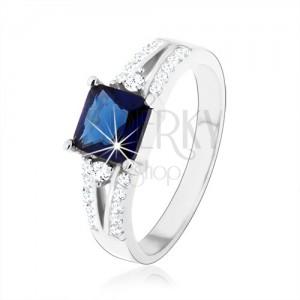 Zásnubní prsten, stříbro 925, modrý zirkonový čtverec, zdobená ramena