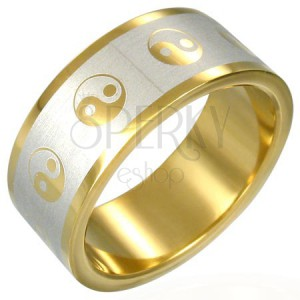 Pozlacený prsten Jin-Jang