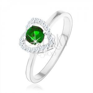 Prsten ze stříbra 925, blyštivá kontura srdce, zelený kulatý zirkon