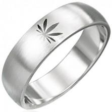 Ocelový prsten s motivem marihuany