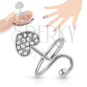 Nastavitelný prsten na nehet, stříbrná barva, srdíčko, oblouk, zirkony
