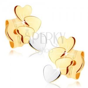 Zlaté náušnice 375 - čtyři malá plochá srdíčka, vysoký lesk
