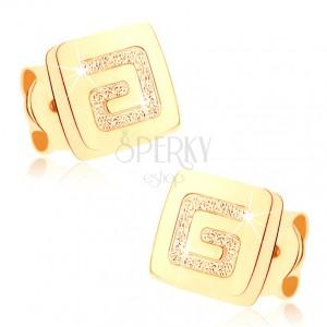 Náušnice ze žlutého 9K zlata - lesklý čtvereček, pískovaný řecký klíč