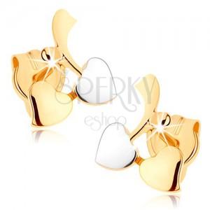 Zlaté náušnice 375 - větvička s listy a kuličkou, zrcadlový lesk