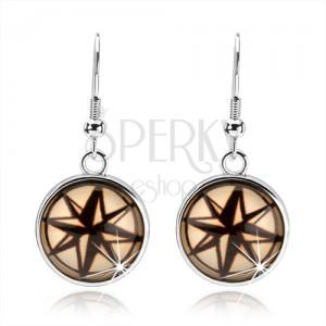 Kruhové náušnice v cabochon stylu, černokrémová hvězda s osmi cípy