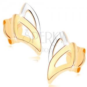 Puzetové náušnice ve žlutém 9K zlatě - dvoubarevné obrysy trojúhelníků