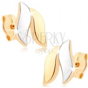 Zlaté náušnice 375 - lesklé vlnky, zlatá a stříbrná barva, puzetky