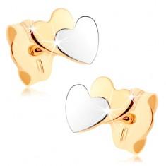 Dvoubarevné náušnice v 9K zlatě - malá plochá srdíčka, zrcadlový lesk GG73.12