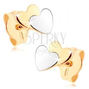 Dvoubarevné náušnice v 9K zlatě - malá plochá srdíčka, zrcadlový lesk