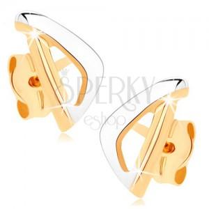 Zlaté náušnice 375 - asymetrický obrys trojúhelníku ve dvou barvách
