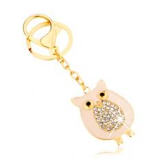 Přívěsek na klíče zlaté barvy, sovička se třpytivým bříškem na řetízku SP65.10