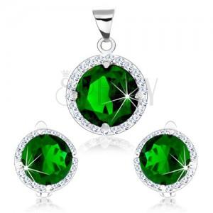 Set ze stříbra 925, přívěsek a náušnice, zelený kulatý zirkon, čirý lem