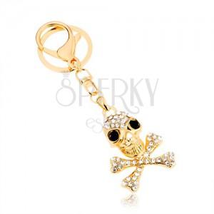 Přívěsek na klíče, zlatý odstín, lebka s překříženými kostmi, zirkony