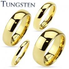 Wolframový prsten zlaté barvy, lesklý a hladký povrch, 2 mm