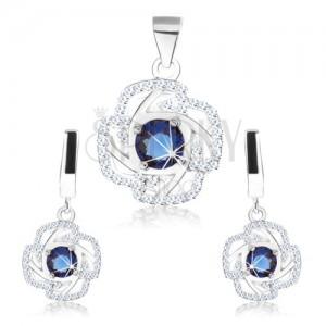 Set - náušnice a přívěsek, stříbro 925, obrys květu, modrý kulatý zirkon