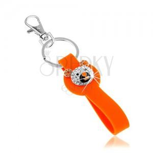Klíčenka stříbrné barvy, oranžový silikonový přívěsek, třpytivá hlava medvídka