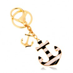 Přívěsek na klíče v námořnickém stylu, dvě kotvy na řetízcích, proužky SP65.20