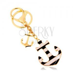 Přívěsek na klíče v námořnickém stylu, dvě kotvy na řetízcích, proužky