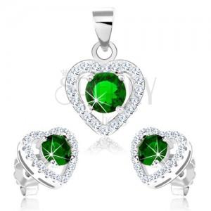 Set ze stříbra 925, náušnice a přívěsek, obrys srdce se zeleným zirkonem