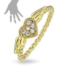 Prsten zlaté barvy, spirálovitý vzhled ramen, srdíčko s křídly