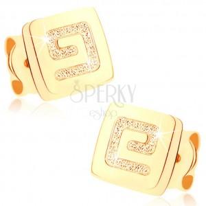 Zlaté náušnice 375 - malý lesklý čtverec, pískovaný řecký klíč
