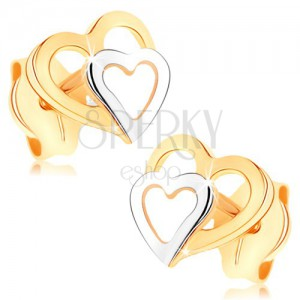 Náušnice z 9K zlata - dvoubarevné obrysy srdíček, puzetky, vysoký lesk