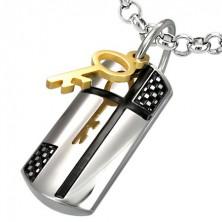 Ocelový přívěsek kouzelný klíč a kříž
