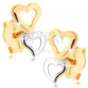 Zlaté náušnice 375 - dvě srdcovité kontury v dvoubarevném provedení