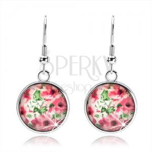 Kabošon náušnice, kruh s vypouklou glazurou, růžové květy, lístky, bílý podklad