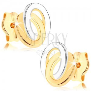Puzetové náušnice ze žlutého 9K zlata - dvoubarevné propojené elipsy