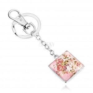 Kabošon klíčenka, čtverec s vypouklým sklem, motiv růží se zelenými listy