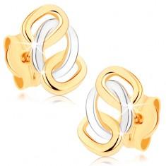 Dvoubarevné náušnice z 9K zlata - lesklé propojené obroučky, puzetky GG75.05
