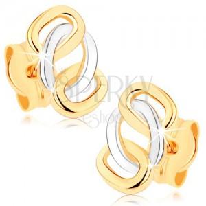 Dvoubarevné náušnice z 9K zlata - lesklé propojené obroučky, puzetky
