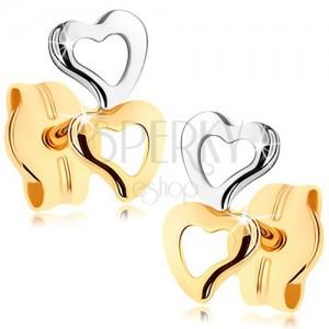 Náušnice ze zlata 375 - dva obrysy srdíček, dvoubarevné provedení