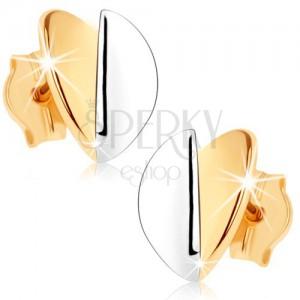 Náušnice v 9K zlatě - vypouklé lístečky, zlatý a stříbrný odstín, rhodiované