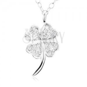 Náhrdelník, stříbro 925, třpytivý čtyřlístek pro štěstí, lesklý stonek