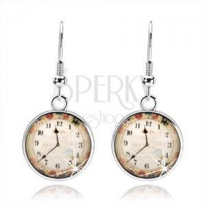 Náušnice, styl kabošon, průsvitná glazura, obrázek hodinek, barevné květy